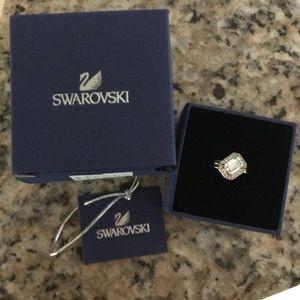 Swarovski Rose Gold Gallery Square Ring Set